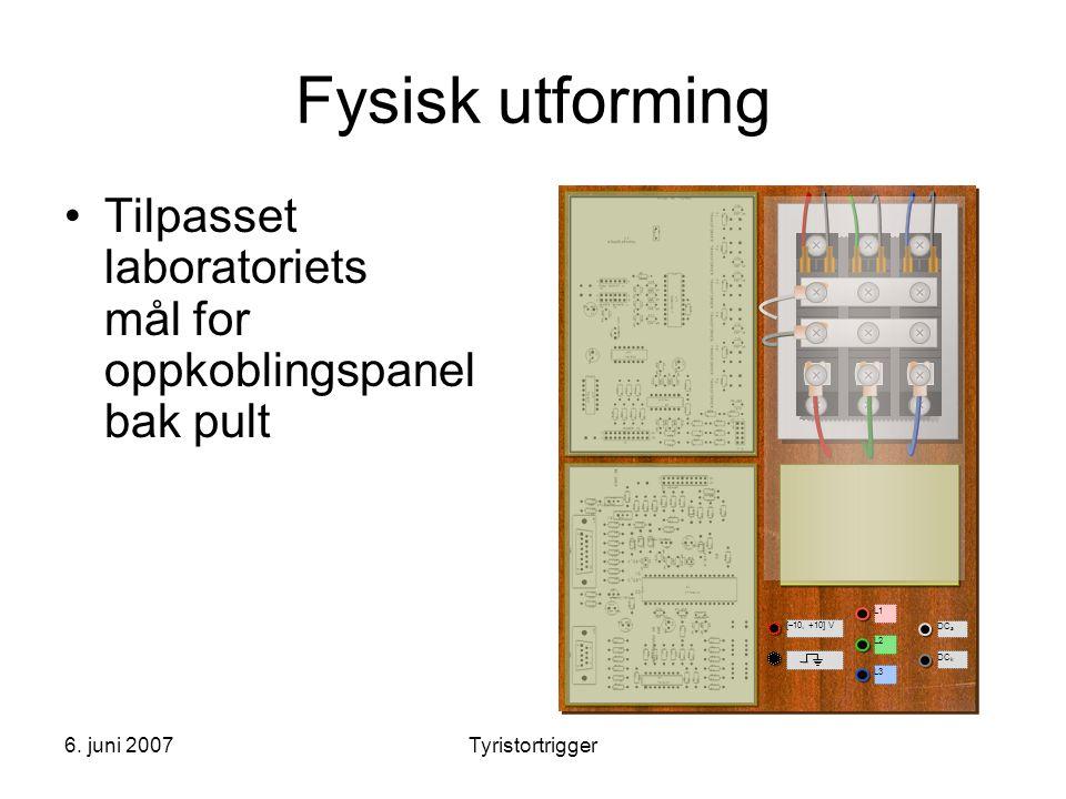 Fysisk utforming L1. L2. L3. DCa. DCk. [10, +10] V. Tilpasset laboratoriets mål for oppkoblingspanel bak pult.